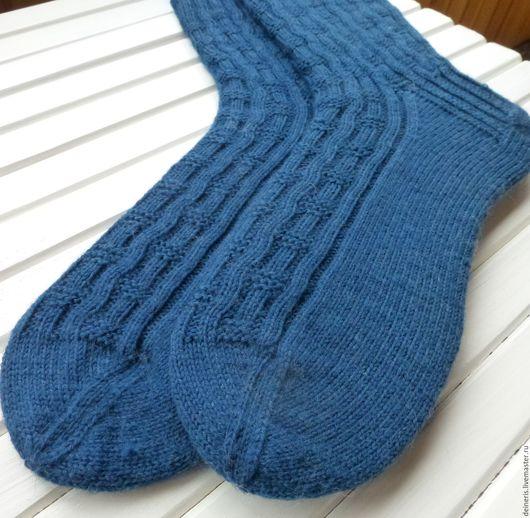 Носки, Чулки ручной работы. Ярмарка Мастеров - ручная работа. Купить Мужские вязаные носки Dark blue. Handmade.