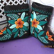 Обувь ручной работы handmade. Livemaster - original item Boots short with embroidery smooth.. Handmade.