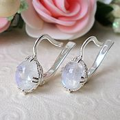 Украшения handmade. Livemaster - original item Silver earrings with moonstone. Natural. Handmade.