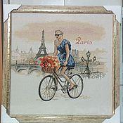 Картины и панно ручной работы. Ярмарка Мастеров - ручная работа Картина гобелен Леди Париж 55х55 см в рамке. Handmade.