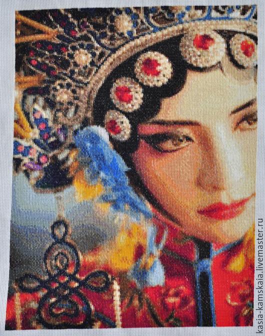 Люди, ручной работы. Ярмарка Мастеров - ручная работа. Купить Китайская опера. Handmade. Вышивка крестом, вышивка ручная
