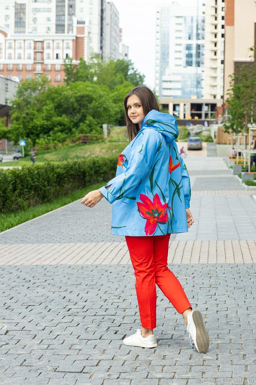 Летняя куртка из хлопка ярко голубая, Куртки, Новосибирск,  Фото №1