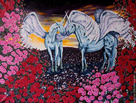 """Животные ручной работы. Ярмарка Мастеров - ручная работа. Купить Картина маслом ручной работы """" Долина роз """". 60 х 80 см.. Handmade."""
