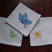 Аксессуары ручной работы. Ярмарка Мастеров - ручная работа Носовые платочки Бабочки комплект. Handmade.