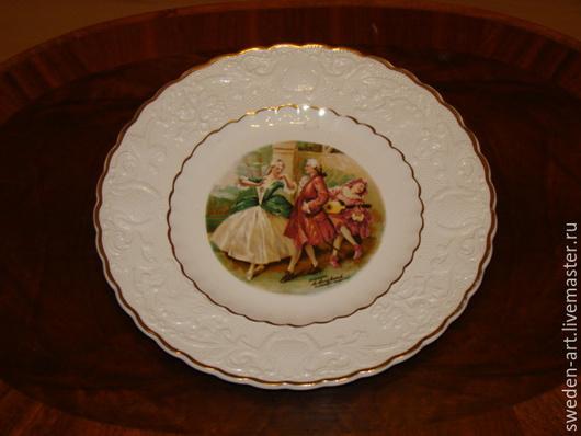 Винтажные предметы интерьера. Ярмарка Мастеров - ручная работа. Купить Коллекционная фарфоровая   английская  тарелка. Handmade. Фарфор, европейский стиль