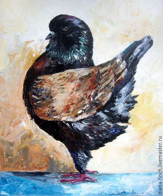 Животные ручной работы. Ярмарка Мастеров - ручная работа. Купить Моденский куриный голубь. порода голубей. Handmade. Разноцветный, масло