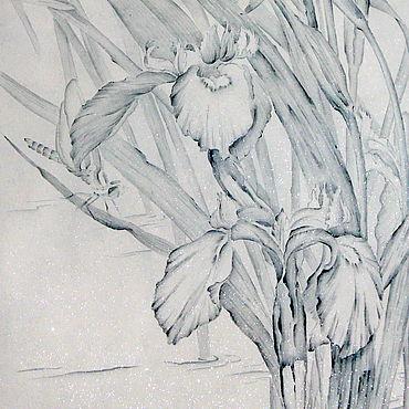 Картины и панно ручной работы. Ярмарка Мастеров - ручная работа АкварельСиний ирис( картина китайская живопись гунби цветы модерн. Handmade.