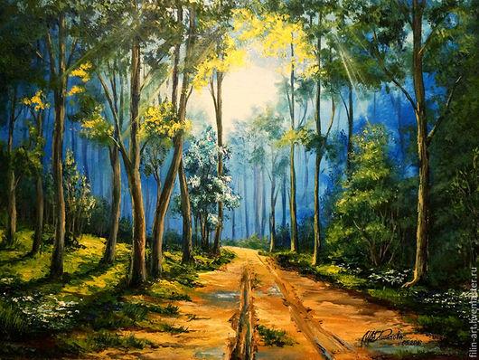 """Пейзаж ручной работы. Ярмарка Мастеров - ручная работа. Купить Пейзаж Картина маслом на холсте - """"Весенний лес после дождя"""". Handmade."""