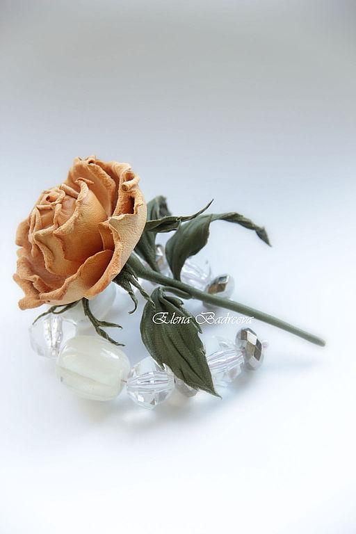 """Цветы ручной работы. Ярмарка Мастеров - ручная работа. Купить Роза из замши """"Софи"""". Handmade. Роза из кожи, ободок с цветами"""