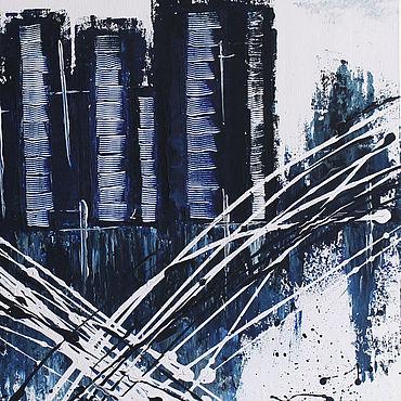Картины и панно ручной работы. Ярмарка Мастеров - ручная работа Картины: Сити абстракция акрил. Handmade.