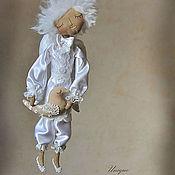 """Куклы и игрушки ручной работы. Ярмарка Мастеров - ручная работа """"Ангел-мальчик с птицей"""" - авторская кофейная куколка. Handmade."""