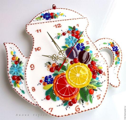 Часы для дома ручной работы. Ярмарка Мастеров - ручная работа. Купить часы из стекла, фьюзинг  Фруктовый чай. Handmade. Комбинированный