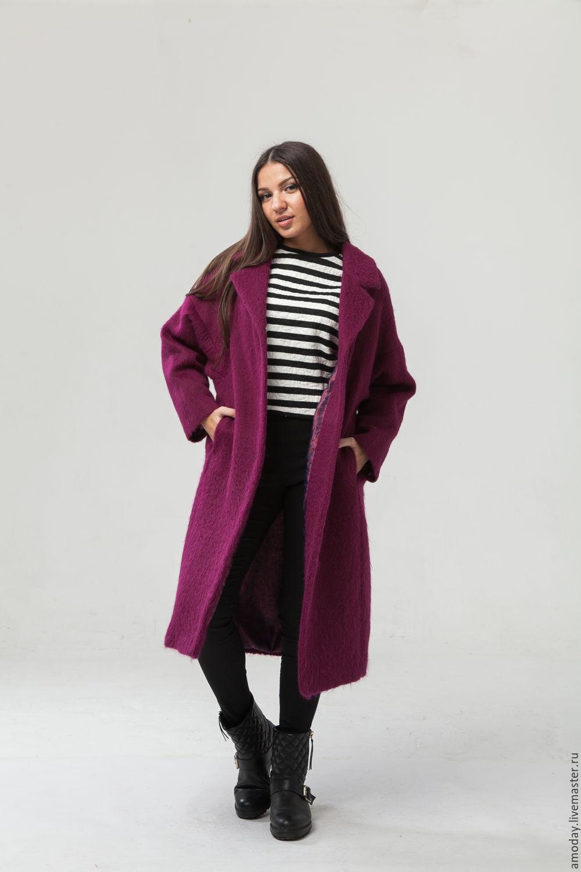 coat oversized Fuschia jacket coat womens coat