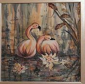 Картины и панно ручной работы. Ярмарка Мастеров - ручная работа Розовые фламинго. Handmade.
