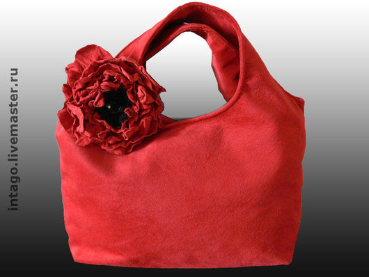 Handbags handmade. Livemaster - handmade. Buy Bag and brooch (2 in 1). 'Red poppy'..Suede bag