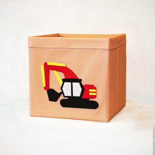 Детская ручной работы. Ярмарка Мастеров - ручная работа. Купить Коробка для игрушек с фетровой аппликацией. Handmade. Бежевый, коробка для хранения