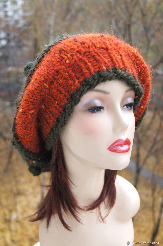 245a219a19821 ... Berets handmade. Takes boho knitted Orange bulk of Icelandic wool 100.