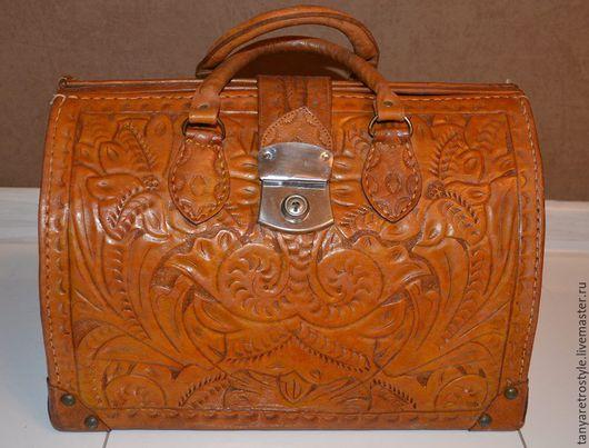 Винтажные сумки и кошельки. Ярмарка Мастеров - ручная работа. Купить Саквояж кожаный. Handmade. Коричневый