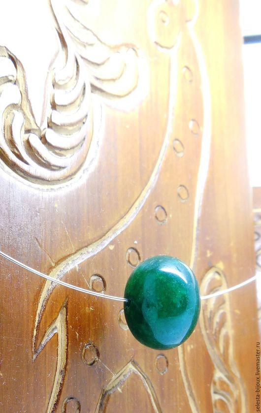 """Серьги ручной работы. Ярмарка Мастеров - ручная работа. Купить Чокер с изумрудом """"Изумруд Соло"""". Handmade. Зеленый, резьба по камню"""