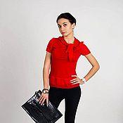 Одежда ручной работы. Ярмарка Мастеров - ручная работа Красная блузка Интрига. Handmade.