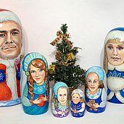 """Русский стиль ручной работы. Ярмарка Мастеров - ручная работа Матрешка 6-кукольная """"Новогоднее семейство"""" портретная. Handmade."""