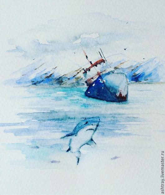 Пейзаж ручной работы. Ярмарка Мастеров - ручная работа. Купить У берегов. Handmade. Синий, море картина, горы, акварель