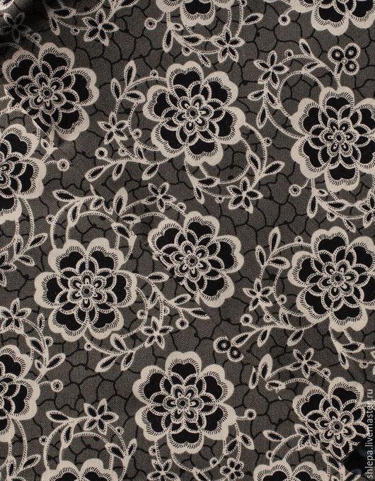 Шитье ручной работы. Ярмарка Мастеров - ручная работа. Купить Ткань для пэчворка Серые цветы. Handmade. Ткань для рукоделия