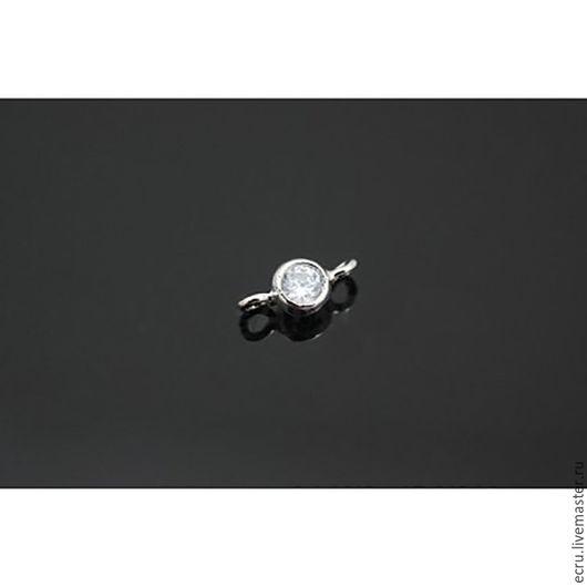Коннектор с цироном, родиевый, серебро, фурнитура Южная Корея. 3.8 мм