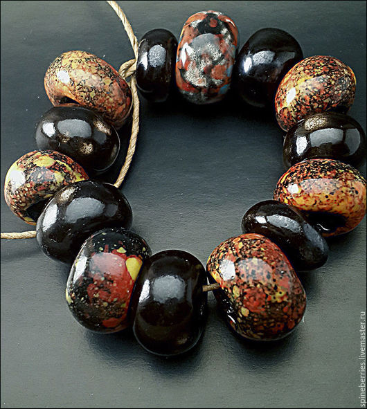 """Для украшений ручной работы. Ярмарка Мастеров - ручная работа. Купить Бусины керамика """"Пламя"""". Handmade. Разноцветный, для браслета"""