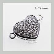 Коннекторы ручной работы. Ярмарка Мастеров - ручная работа Коннектор сердце с узором, серебро. Handmade.