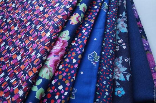 """Шитье ручной работы. Ярмарка Мастеров - ручная работа. Купить Набор тканей для пэчворка и шитья """" Темно- синяя гармония"""". Handmade."""