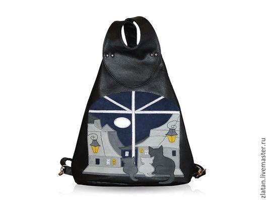"""Рюкзаки ручной работы. Ярмарка Мастеров - ручная работа. Купить Кожаный рюкзак """"Котики"""". Handmade. Черный, рюкзак кожаный"""