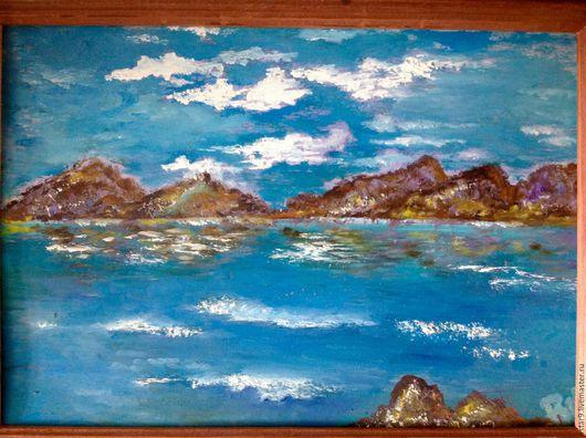 Пейзаж ручной работы. Ярмарка Мастеров - ручная работа. Купить Синее море.Масло.. Handmade. Синий, купить пейзаж