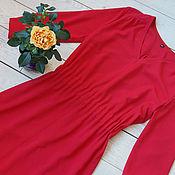 Одежда ручной работы. Ярмарка Мастеров - ручная работа Платье с V-образным вырезом красное. Handmade.