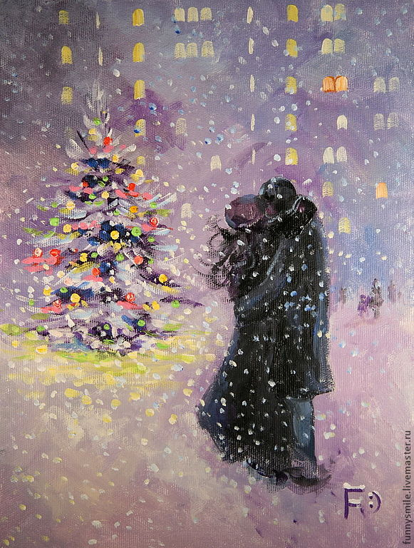 A new Year with you! Oil painting on canvas, Pictures, Moscow,  Фото №1