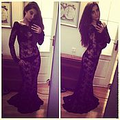 Одежда handmade. Livemaster - original item Dress long black lace 3D