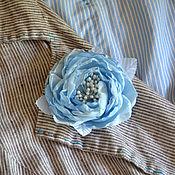 """Брошь-булавка ручной работы. Ярмарка Мастеров - ручная работа Роза брошь """"Голубая"""". Handmade."""
