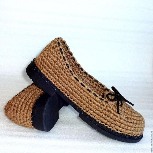 Обувь ручной работы. Ярмарка Мастеров - ручная работа. Купить Мокасины вязаные, коричневый, лен, р.40. Handmade.