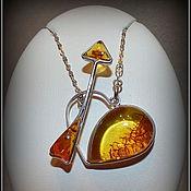 """Украшения ручной работы. Ярмарка Мастеров - ручная работа """"Стрела Амура"""" Кулон с янтарем, серебряный. Handmade."""