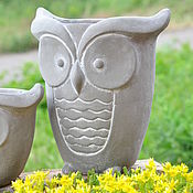Цветы и флористика handmade. Livemaster - original item Flower pot is a large Owl of concrete creative for plants. Handmade.