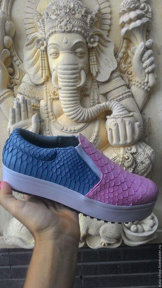Обувь ручной работы. Ярмарка Мастеров - ручная работа. Купить слипоны комбинированные. Handmade. Комбинированный, кеды, Кеды из питона