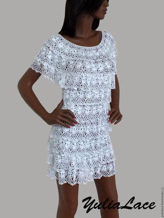 Платья ручной работы. Ярмарка Мастеров - ручная работа. Купить Вязаное платье. Handmade. Белый, ажурное платье крючком