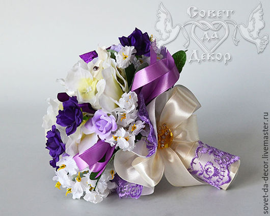 Свадебные цветы ручной работы. Ярмарка Мастеров - ручная работа. Купить Букет-дублёр фиолетовый с короной. Handmade. Букет