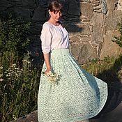 Юбки ручной работы. Ярмарка Мастеров - ручная работа Длинная юбка из мятного кружева Аксинья. Handmade.