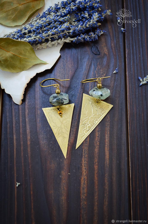 Triangular boho earrings with prenite Long earrings in brass Gold, Earrings, Ulan-Ude,  Фото №1