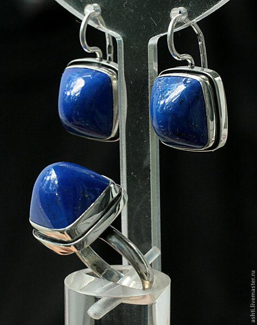 Комплекты украшений ручной работы. Ярмарка Мастеров - ручная работа. Купить Миниатюрный комплект с лазуритом 462. Handmade. Тёмно-синий