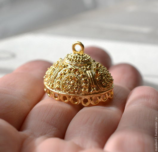 """Для украшений ручной работы. Ярмарка Мастеров - ручная работа. Купить основа для кисточки """"Kosem""""/большая/латунь,золото 24 крт. Handmade."""