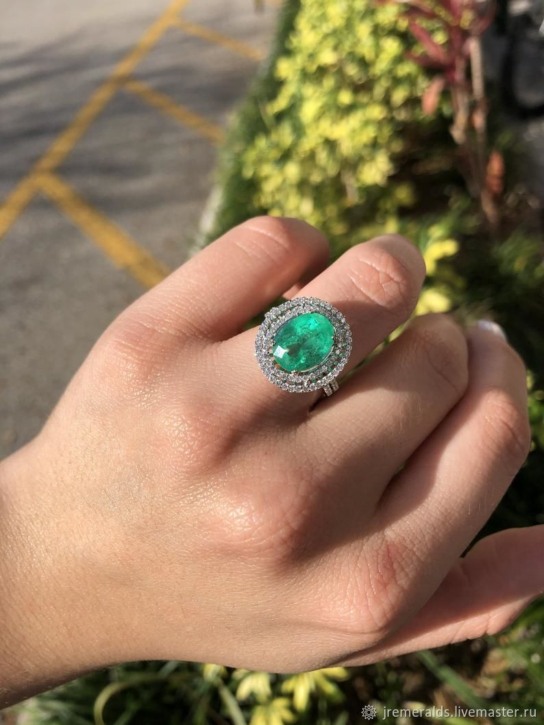 4.01tcw Natural Emerald Oval & Diamond Halo Statement Ring 14K, Rings, West Palm Beach,  Фото №1