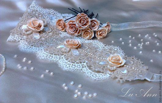 Свадебные украшения ручной работы. Ярмарка Мастеров - ручная работа. Купить шпильки и повязка для невесты. Handmade. Бежевый, шпильки для волос