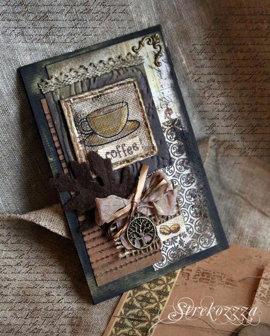 """Открытки на все случаи жизни ручной работы. Ярмарка Мастеров - ручная работа. Купить Открытка""""Вкус кофе""""(Коллекция """"Кофейная книга"""")- №6. Handmade."""